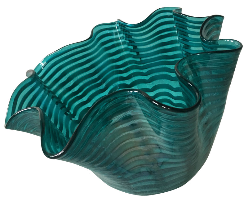Large Teal Fluid Glass Bowl