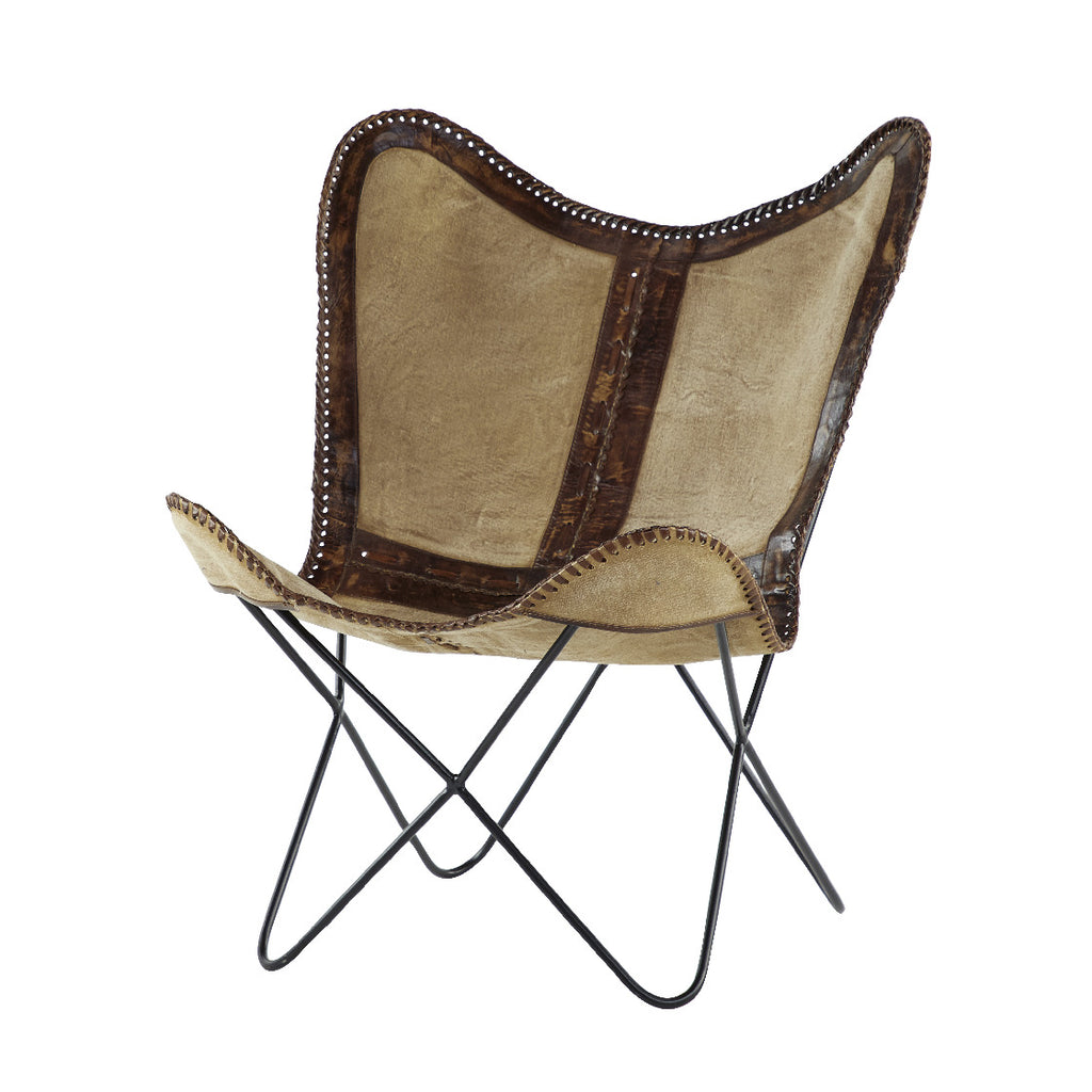 Metal Canvas Leather Chair