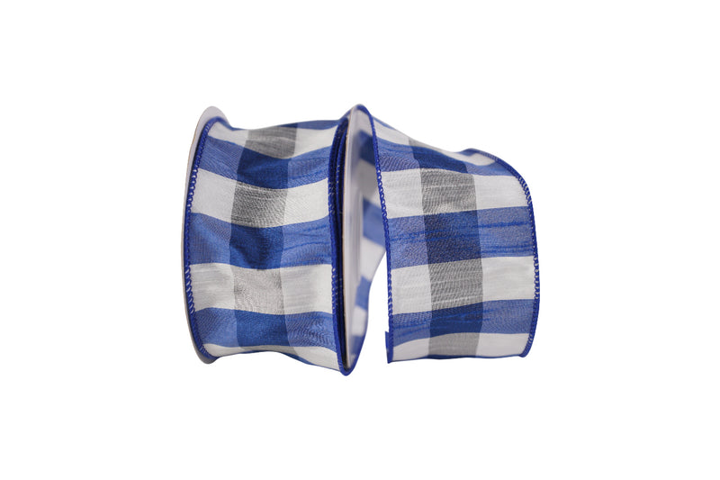 Royal Blue White Check Dupioni Ribbon
