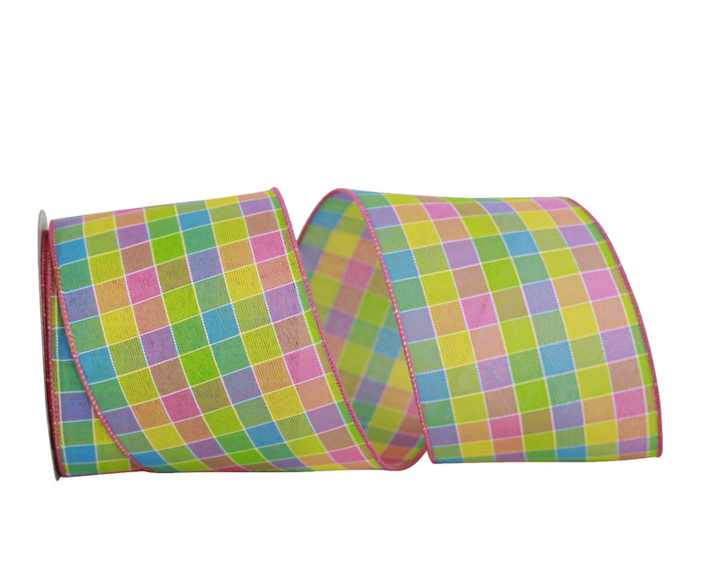 Multi Color Check Ribbon