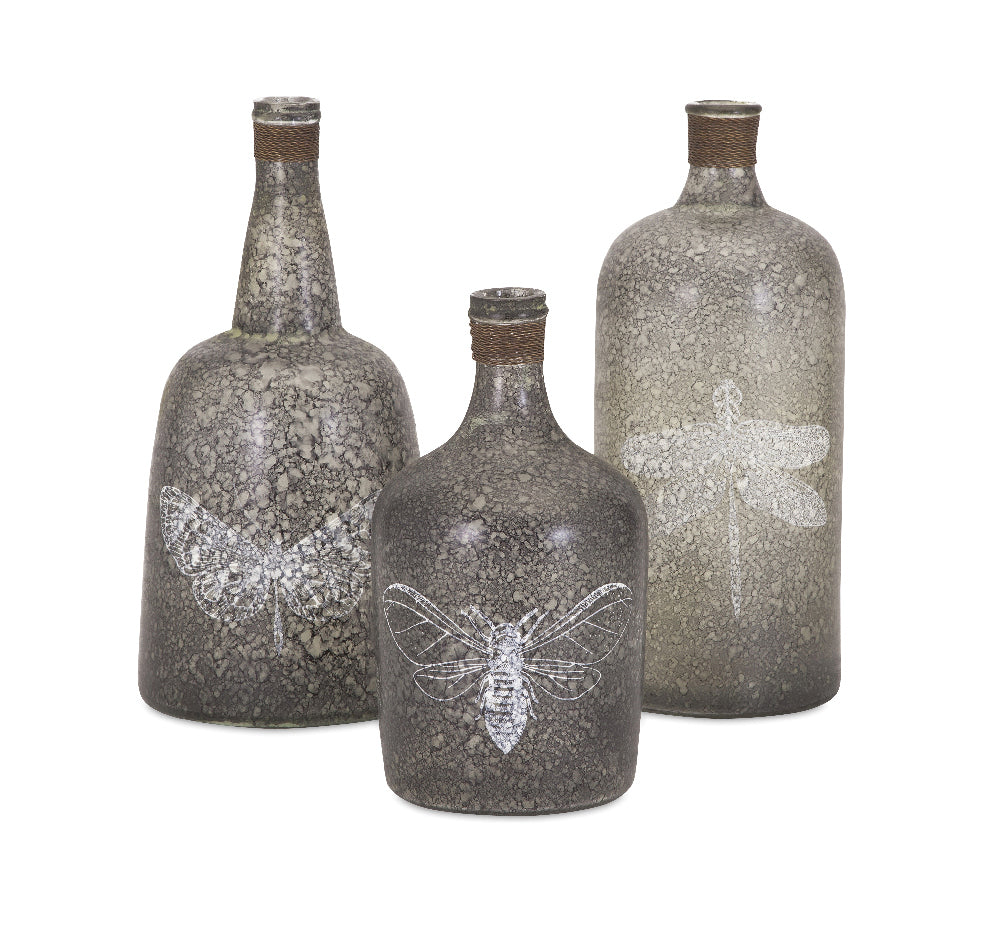 Insect Etched Glass Bottles
