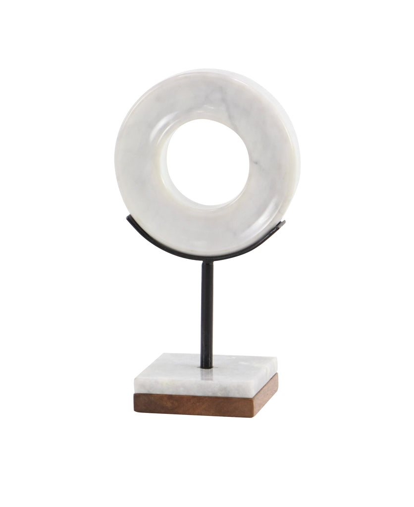 White Marble Ring Sculpture