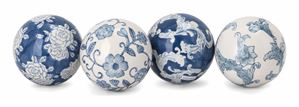 Blue and White Ceramic Orbs