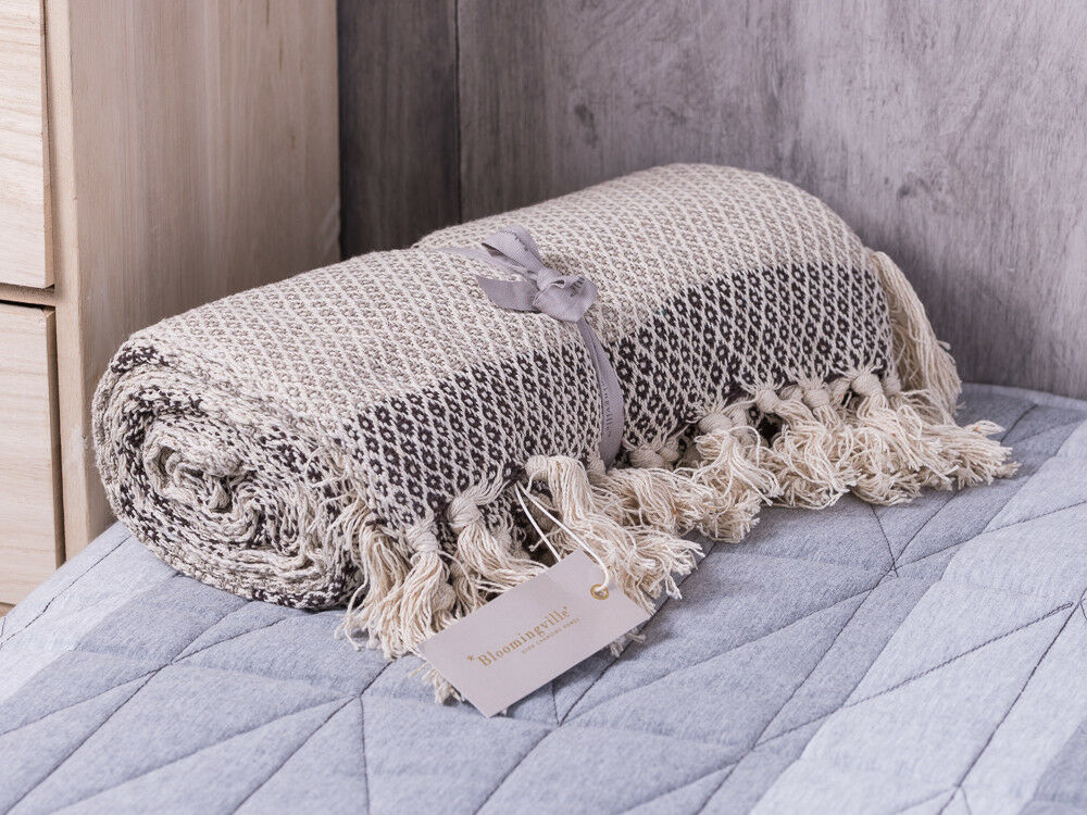 Fringe Cream and Taupe Stripe Knitted Throw