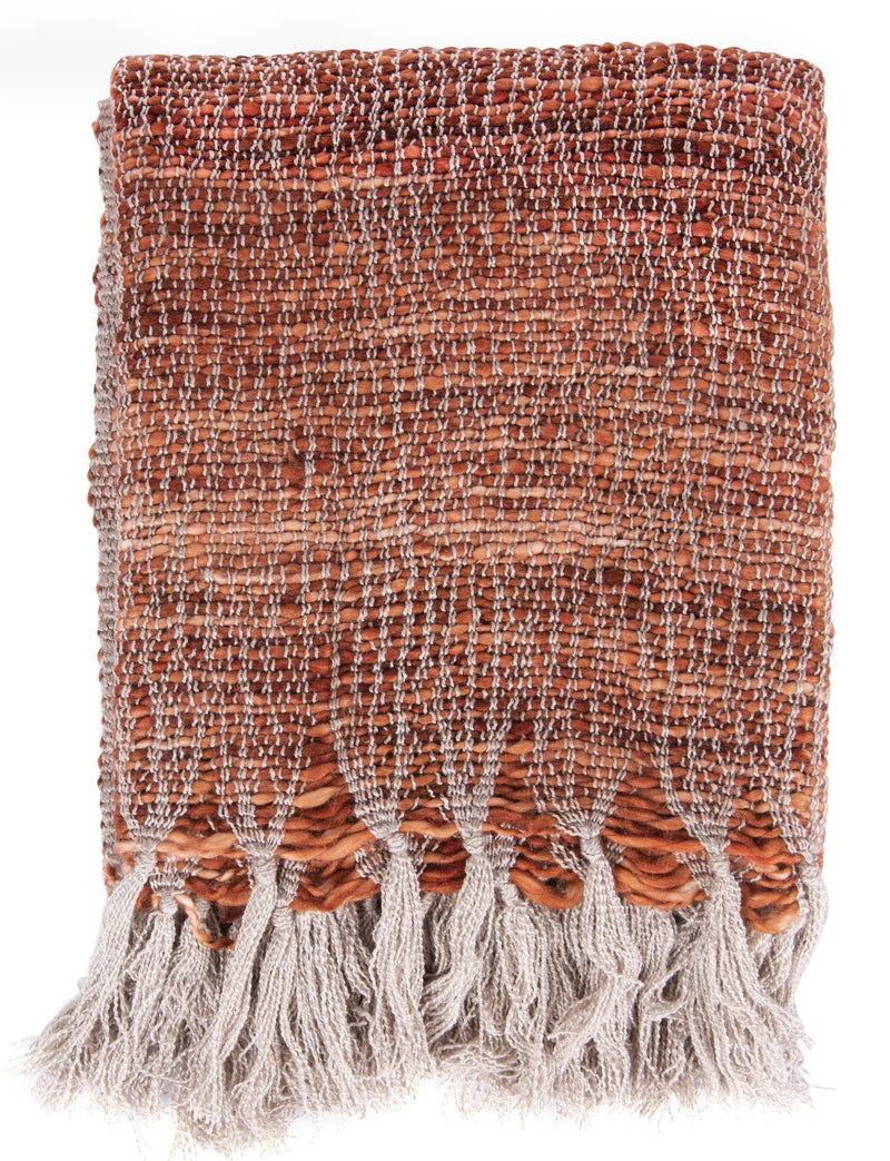 Burnt Orange Knit Throw Blanket