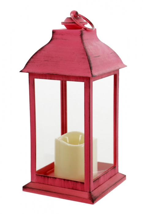 Distressed Coral Lantern with Timer