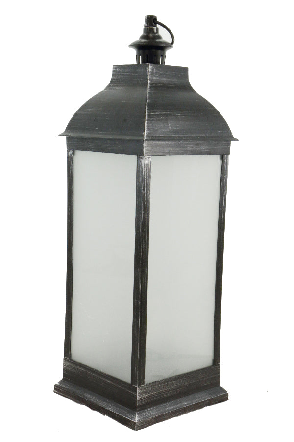 Black Lantern with Flickering Candle