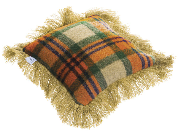 Cabin Plaid Pillow with Fringe