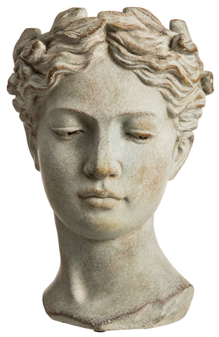 Antique Gray Female Bust Planter