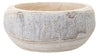 Hand Carved Whitewashed Round Wood Bowl