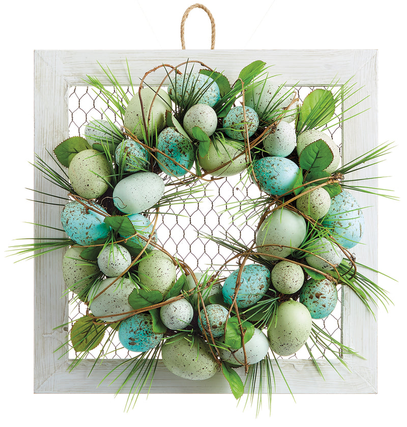 Egg Wreath on White Frame