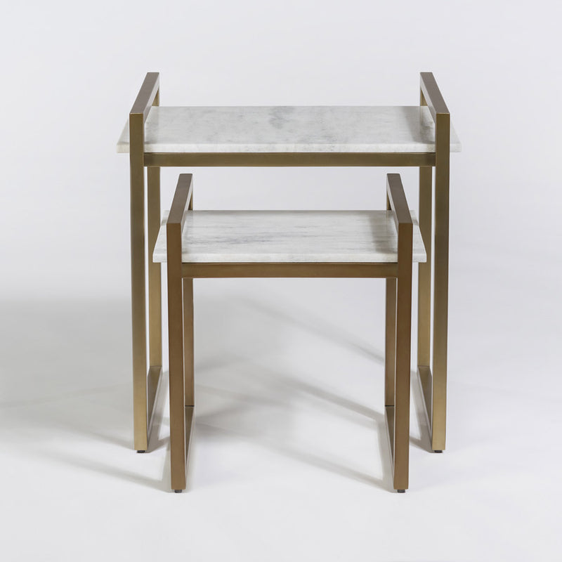 Antique Brass and Marble Nesting Tables