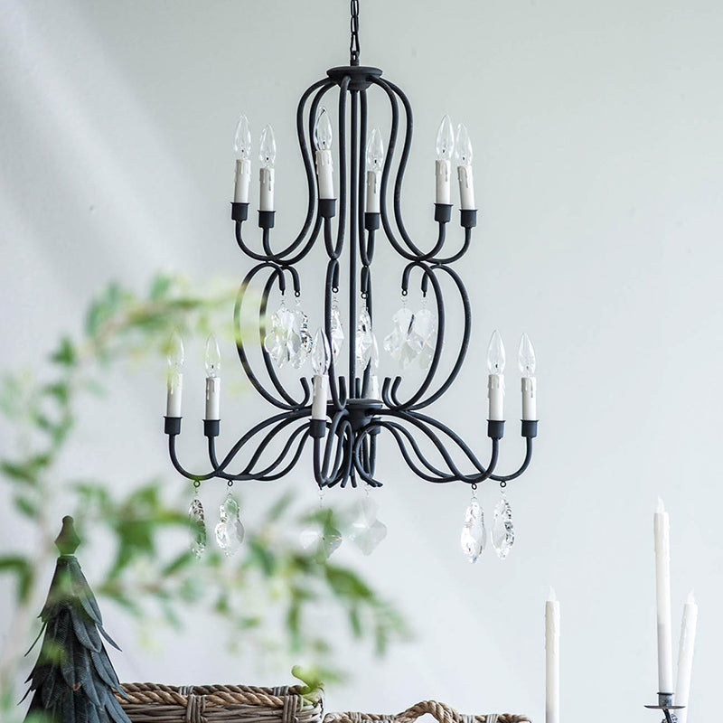Black Chandelier w/ Crystals