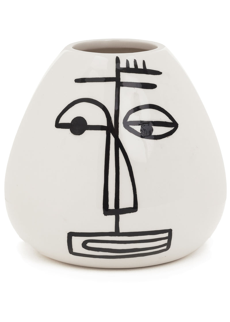 Black & White Ceramic Face Vase