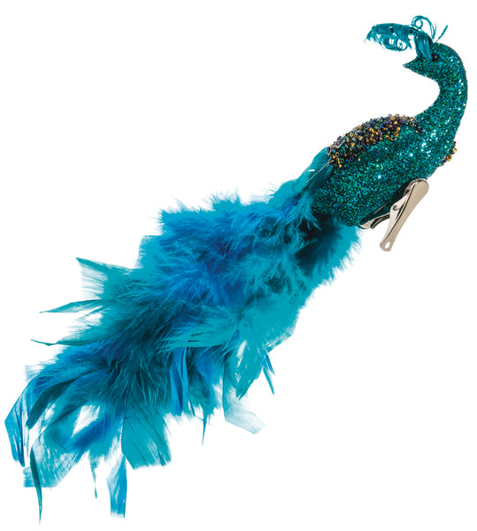 Teal Feather and Glitter Peacock with Clip
