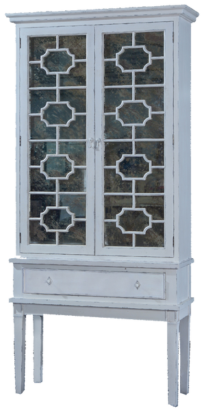 Belle Cabinet with Antiqued Mirrored Doors