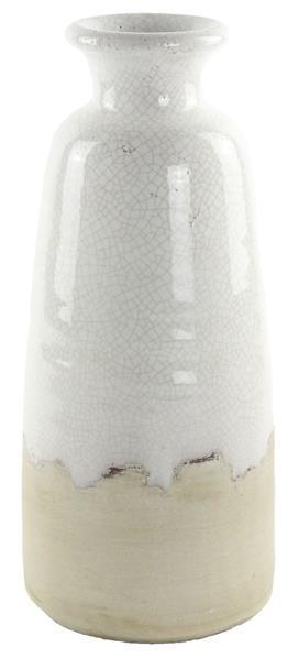 White/Cream Stoneware Bottle Vase