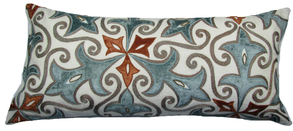 Coral Blue Pattern Pillow