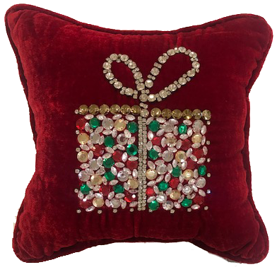 Red Velvet Christmas Gift Box Pillow
