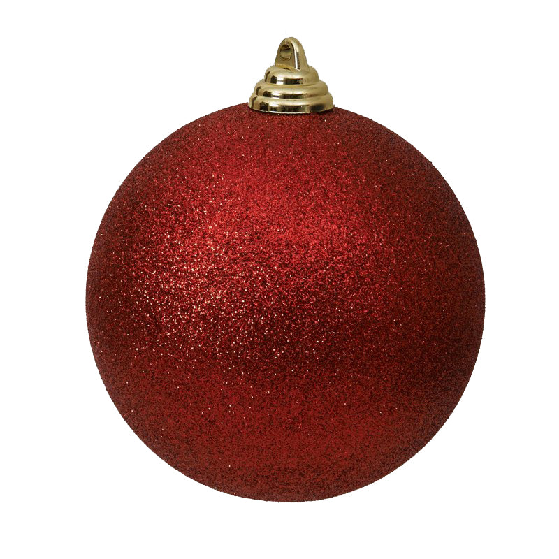 Red Glitter Ball Ornament Six Inches