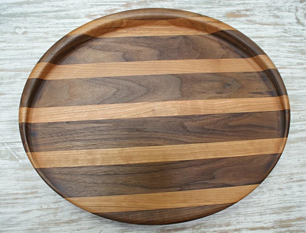 Oval Walnut & Cherry Cutting Board