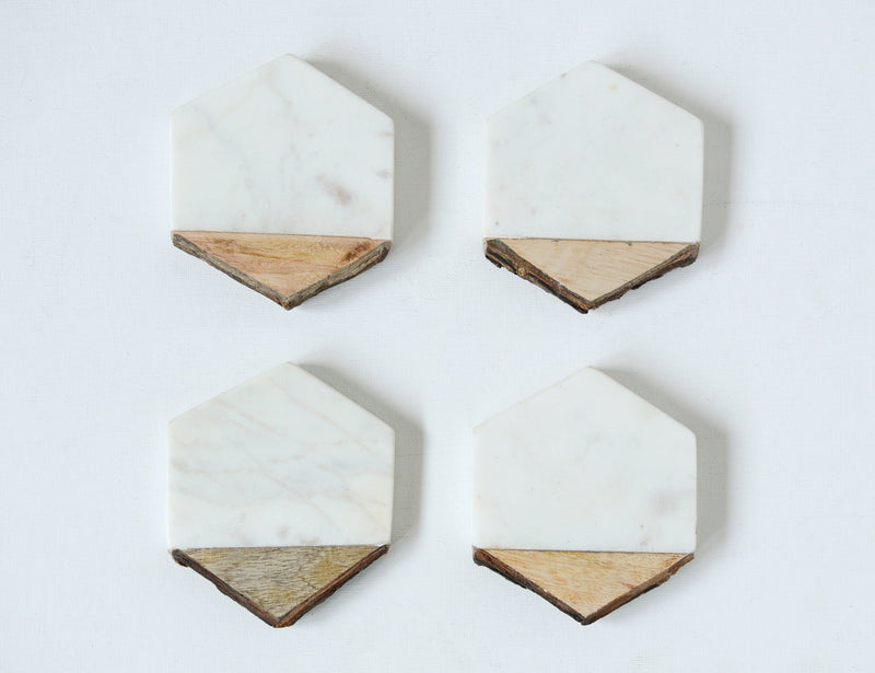 Marble and Wood Hexagon Coasters Set