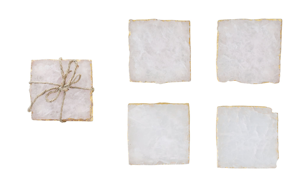 White Agate Coasters Set/4