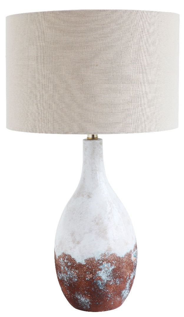 White and Bronze Glazed Ceramic Table Lamp