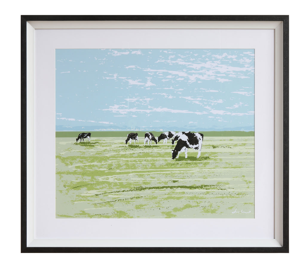 Rustic Framed Cow Wall Decor