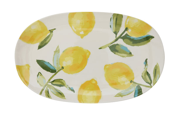 Stoneware Platter with Lemons