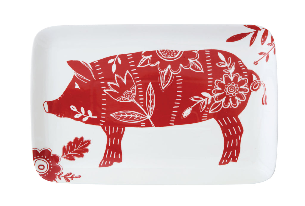 Stoneware Platter with Red Pig
