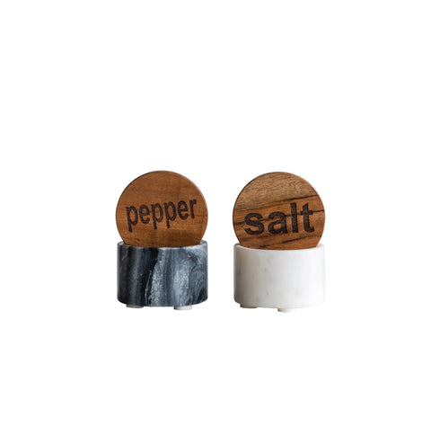 Round Marble Salt/Pepper Set