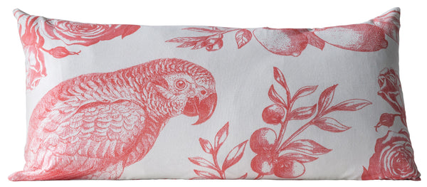 Coral Parrot Toile Pillow