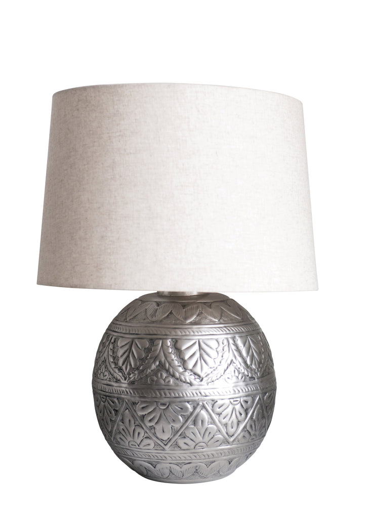 Flower and Leaf Embossed Pewter Lamp