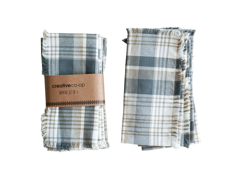 Set of Grey and Tan Check Napkins