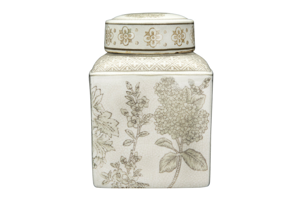 Small Brown and White Ginger Jar
