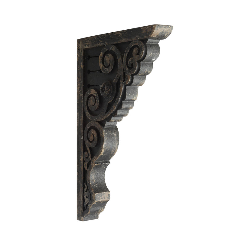 Distressed Black Wooden Corbel