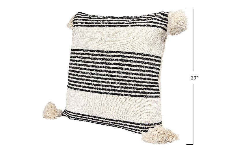 Cotton & Chenille Woven Striped Pillow