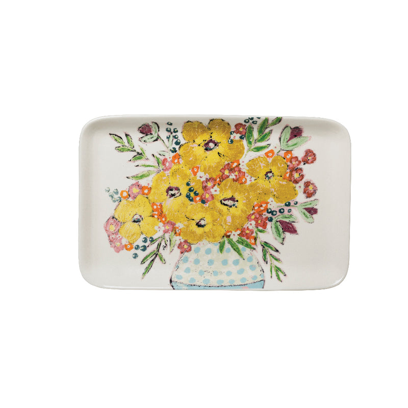 Stoneware Platter with Flowers