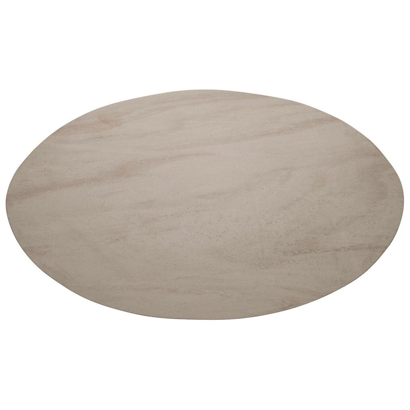 Marble Top with Reclaimed Wood Legs Oval Table