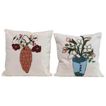 Flowers in Vase Embroidered Pillows