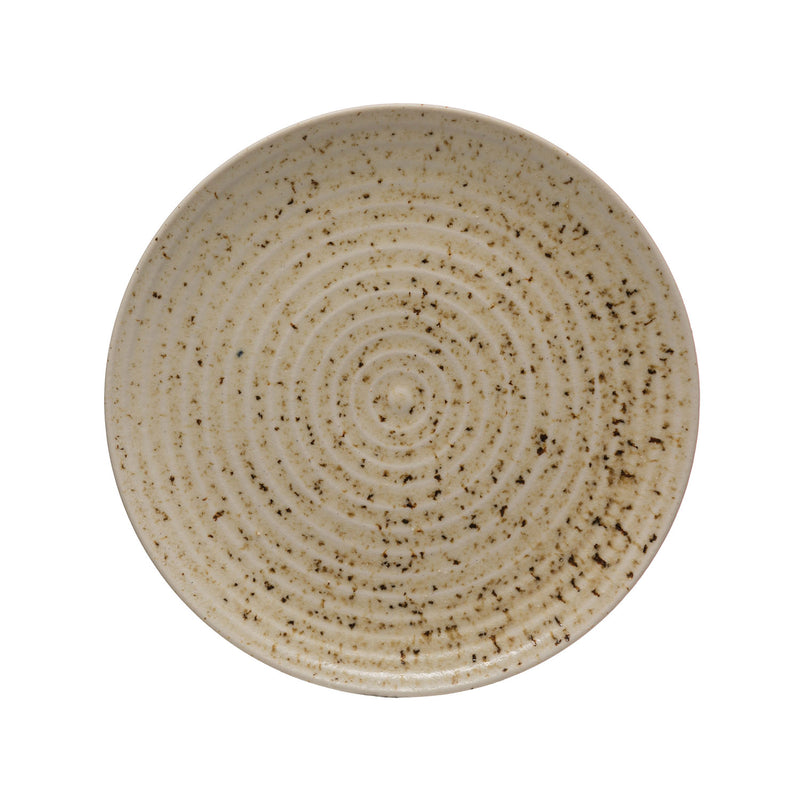 "11"" Speckled Beige Stoneware Dinner Plate"