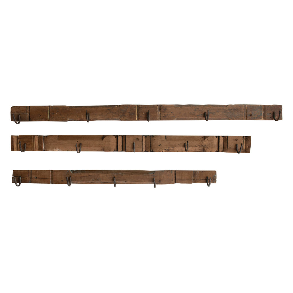 Reclaimed Wood Wall Accent with Hooks