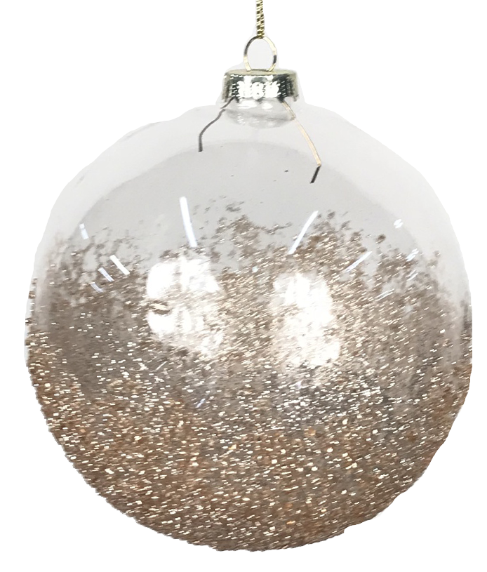 Glass Ornament with Platinum Glitter