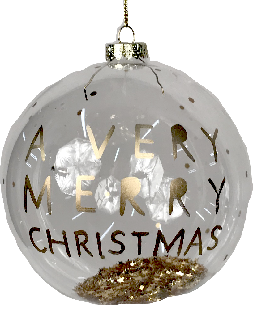 Glass Merry Christmas Ornament with Gold Flakes