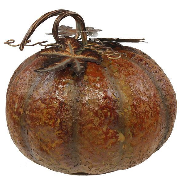 Distressed Burnt Orange Tin Pumpkin