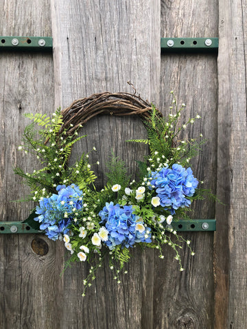 Blue Skies Hydrangea Grapevine Wreath