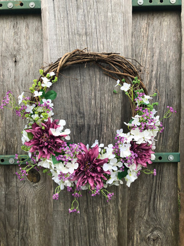 Spring Grapevine Wreath with Hydrangea & Dahlia