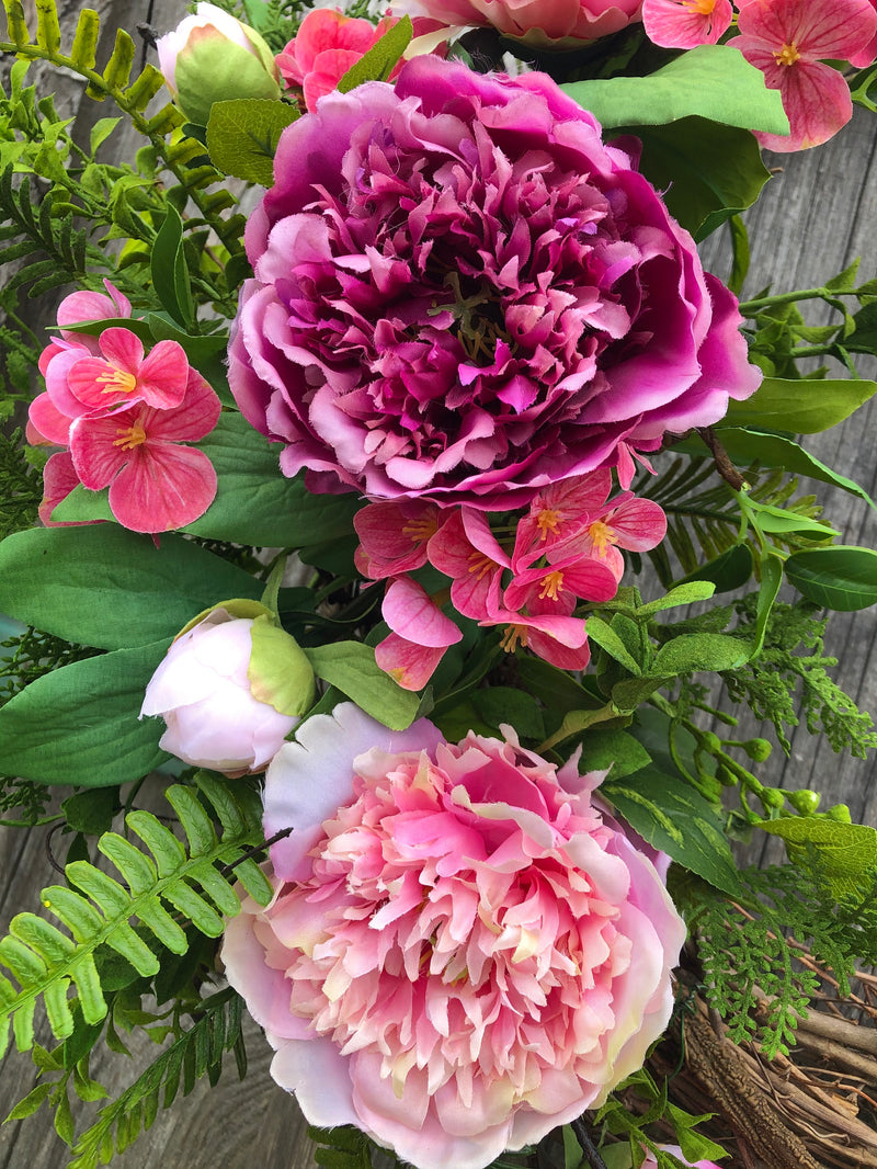 Grapevine Wreaths with Peony & Blooms - Pair