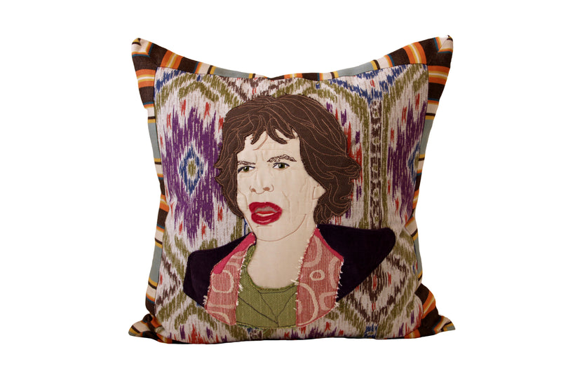 Celebrity Down Throw Pillows - Mick Jagger